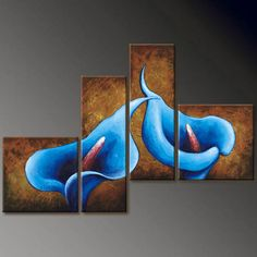 4194 handpainted 4 pieces modern oil painting on canvas wall art pictures for home decor as unique gift brown blue calla lily Lily Painting, Modern Oil Painting, Oil Painting Flowers, Oil Painting Abstract, Abstract Canvas, Canvas Wall Art, Painting Art, Canvas Frame, Multiple Canvas Paintings