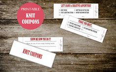 Printable KNIT Coupon Book - for HIM or for HER - Knit Coupons for your knitting buddy - Instant Download