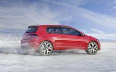 Volkswagen Golf GTI, 2017, hatchback, red Golf, VW Golf GTI