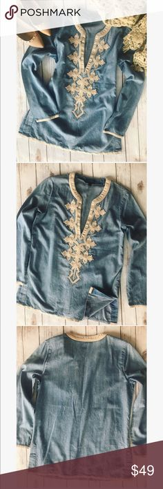 💗Gorgeous J.Crew denim shirt 💗 🎀Gorgeous J.Crew denim shirt with beautiful beige trim and front decoration in size 6T. Please see pics with measurements condition is excellent 🎀 J. Crew Tops Blouses