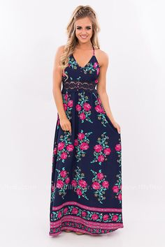All For Love Navy Floral Maxi Dress