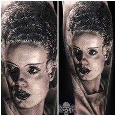 """""""Smooth black and grey bride of Frankenstein done by #fkironsproteam artist @tattooedtheory with #spektra halo #fkirons"""""""