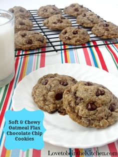 Soft and Chewy Oatmeal Flax Chocolate Chip Cookies- Made with coconut ...