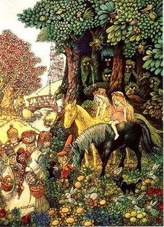 """Hans Arnold's illustration for """"My beloved sister"""" by Astrid Lindgren"""