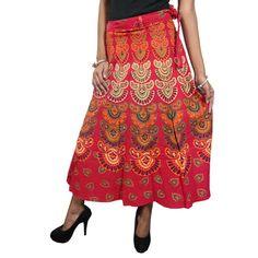 Mogulinterior Red Wrap Skirt Barmeri Cotton Long Sarong Hippy Wrap Around Skirts Dress