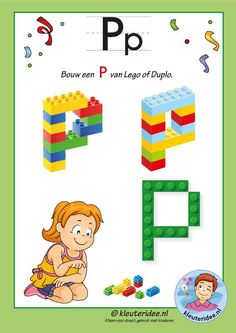 How to build a S with Lego or Duplo, kindergarten expert, free printable Letter P Activities, Preschool Letter Crafts, Letter A Crafts, Kindergarten Activities, Letters Kindergarten, Lego Letters, Lego Words, Letters For Kids, Alphabet Letters