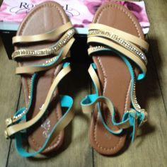 Sandals 🌹Tan and Teal embellished sandals🌹 Size 9. New in box🌹Super Cute! Boutique Shoes Sandals