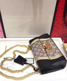 #Gucci Padlock GG Supreme and leather shoulder bag 432182 Coffee