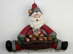 Santa's Nuts About the Buckeyes Ornament Polymer Clay Christmas, Diy Christmas Ornaments, Rustic Christmas, Christmas Decorations, Christmas Ideas, Biscuit, Salt Dough Ornaments, Santa Sack, Fimo Clay