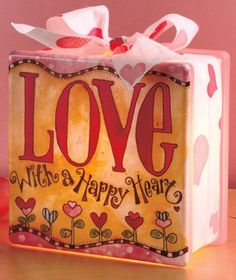 The glass of each Lighted Seasonal Block diffuses the light for a soft glow. Designs by Tina Ledbetter spread the joy and fun of the different holidays. Each block (approx. Painted Glass Blocks, Decorative Glass Blocks, Valentine Day Crafts, Happy Valentines Day, Holiday Crafts, Christmas Holiday, Holiday Ideas, Crafts To Do, Diy Crafts