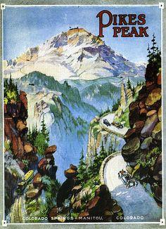 Pikes Peak, Colorado Springs, Co - Poster Colorado Springs, State Of Colorado, Colorado Tourism, Pikes Peak, Utah, National Park Posters, National Parks, New Mexico, Cancun Mexico