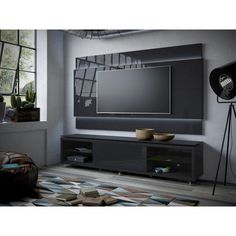 Manhattan Comfort Lincoln TV Stand with Silicon Casters and Lincoln Floating Wall TV Panel with LED Lights for TVs up to 60 inch, Black Gloss and Black Matte Floating Tv Stand, Floating Wall, Living Room Tv, Living At Home, Dining Room, Modern Living, Painel Tv Sala Grande, Tv Wall Panel, Tv Stand Room Divider