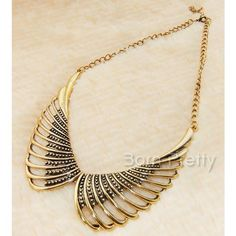 $5.99 1Pc Retro-style Necklace Aulic Hollowed-out Wings Design Collar-necklace - BornPrettyStore.com