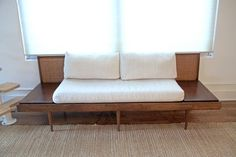 Mid-Century Sofa With Attached End Tables — Mid Century Couch, Retro Sofa, Danish Style, Slipcovers, End Tables, Living Rooms, Mid-century Modern, Restoration, Cushions