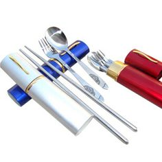 Outdoor Camping Stainless Steel Travel Easy Dinner 3in1 Set Fork Spoon Chopstick