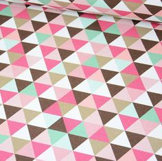 Fabric jersey pink triangles Oeko tex by Sweatetcie on Etsy