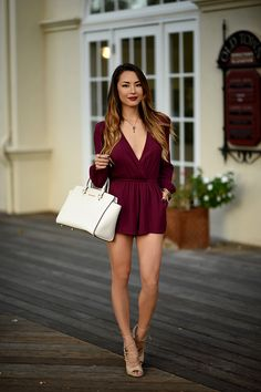 Wine colored romper, nude heels and white purse- Hapa Time Jessica Ricks, Sexy Outfits, Fall Outfits, Work Outfits, Street Style Trends, Street Style Women, Asian Woman, Asian Girl, Hapa Time