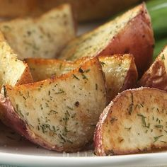 Garlic and Herb Oven Roasted Potatoes. Boil until u can easily stick a fork into them before baking in the oven. Soo good!