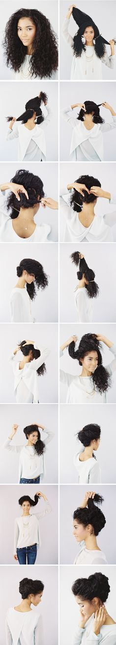 a wedding up-do for naturally curly hair.