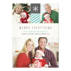 Modern Stripes Merry Everything Holiday Photo Card Personalized Invite