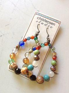 Boho Teardrop Wire Wrapped Bead Earrings by ChristensenStudio, $28.00