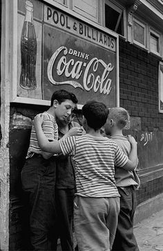 Brooklyn boys - 1946. Kid's just hanging out being kids. No TV, no video games, just the streets and their friends for entertainment. #photography #vivianmaier