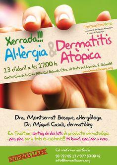 Cartel charla Immunitas Vera sobre alergia y dermatitis atópica.