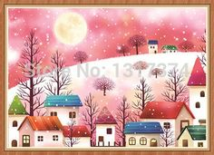 DIY painting diamond drill diamond embroidered square diamond Pink House for living room decorative painting Free shipping-in Needlework from Home & Garden on Aliexpress.com | Alibaba Group