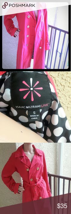 "ISAAC MIZRAHI LIVE Water resistant pink coat size Beautiful water resistant ISAAC MIZRAHI LIVE WATER RESISTANT COAT, GENTLY USED. The color is pink with gold buttons. Pit-Pit: 20"" flat  Length: 38 Isaac Mizrahi Jackets & Coats Trench Coats"