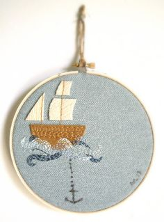 Sail Boat Embroidery Hoop / Nautical Ship and Anchor Art / 6""