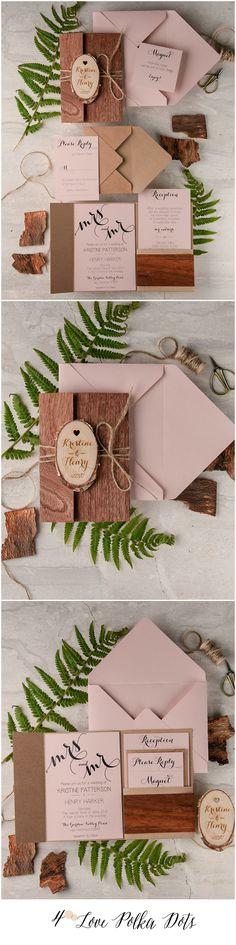 Pink & Eco Rustic Wedding Invitations with wooden magnet #rustic #country #wood #pink #eco #weddingideas #weddinginvitations
