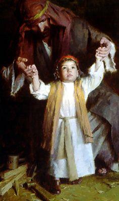 Walking With God by religious artist Morgan Weistling...Have you ever imagined HIM as a little boy?