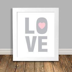 New to HappyHippoArts on Etsy: LOVE Nursery Art I Love You Art Word Art Print Pink and Grey Nursery Art Pink Nursery Art Printable Art Downloadable - 8x10 11x14 (6.50 CAD)