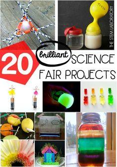 20 brilliant science fair projects for kids! Fun science fair ideas for preschool, kindergarten, first grade and second grade.