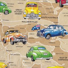 Holden Cars ON Beige Australian MAP Quilt Fabric Craft FAT Quarter OR Metre NEW | eBay