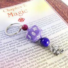 Purple And Pink Dragon Dice RPG Gaming Keychain by merigreenleaf, $8.99