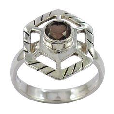 VISIT US :www.indiagems.com 17X23 MM ROUND SHAPE SMOKY QUARTZ GEMSTONE 925 STERLING SILVER RING SIZE 6.