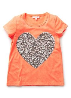 Girls Tops Tees & Shirts | Fluro Sequin Heart Tee | Seed Heritage