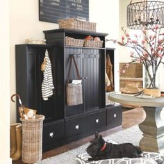 Beadboard Entryway Cabinet with Doors, from Ballard Designs Entryway Cabinet, Entryway Furniture, Home Office Furniture, Cabinet Doors, Wooden Bar Stools, Porch Decorating, Decorating Ideas, Headboards For Beds, Ballard Designs