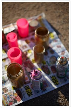 Spray painted mason jars...done on the inside instead of outside....