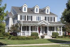 Stock Image: Suburban home with front porch Window Shutters Exterior, House Shutters, Diy Shutters, Black Shutters, House Siding, Paint Vinyl Shutters, American Style House, American Houses, Bungalow Porch