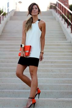Orange purse and shoes