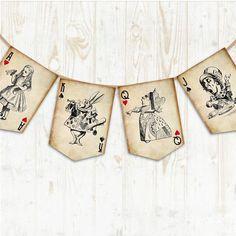 Alice in Wonderland Bunting Wonderland Banner Tea Party