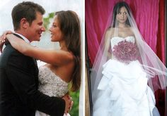 "Vanessa Minnillo donned a two-piece wedding dress by Monique Lhuiller with a ""Venice"" corset and full tufted skirt."