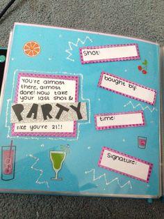 21 shot book 21st Birthday Checklist, 21st Bday Ideas, Birthday Ideas, Birthday Shots, My Best Friend's Birthday, 21 Birthday, 21st Shot Book, Shot Book Pages, Sorority Crafts