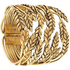 Aurelie Bidermann Wheat Cuff ($724) ❤ liked on Polyvore featuring jewelry, bracelets, metallic, metallic jewelry, cuff bangle, cuff jewelry, aurélie bidermann and hinged bangle