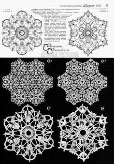 a huge varity of crochet doilies Crochet Snowflake Pattern, Crochet Motif Patterns, Crochet Snowflakes, Crochet Diagram, Crochet Squares, Crochet Chart, Thread Crochet, Crochet Doilies, Crochet Flowers