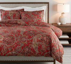 Linen Duvet, Cotton Duvet, Cotton Linen, Pottery Barn, Paisley Bedding, Toile Bedding, Red Comforter, Christmas Bedding, Yurts