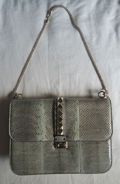 Authentic Valentino Light Blue Python Rock Star Stud Glam Flap Bag Next Level