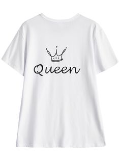 Jewel Neck Queen Crown T-Shirt - WHITE L
